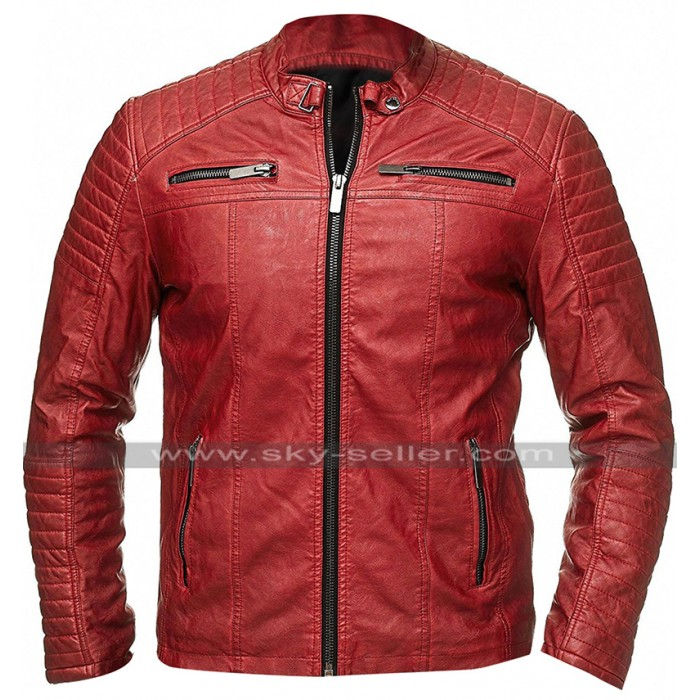 Retro Biker Vintage Red Cafe Racer Casual Fit Quilted Leather Jacket