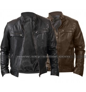 Mens Cafe Racer Slim Fit Biker Quilted Shoulders Vintage Leather Jacket
