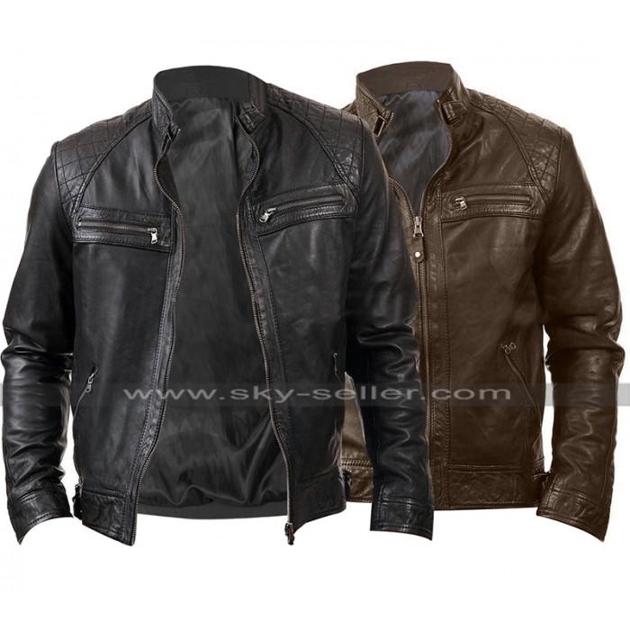 Mens Cafe Racer Slim Fit Biker Quilted Shoulders Vintage Leather Jacket