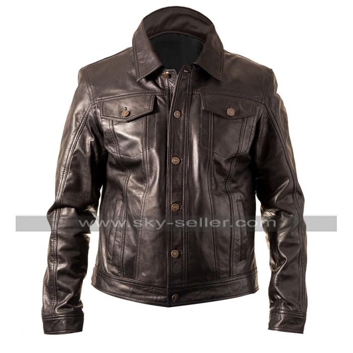Mens Vintage Cafe Racer Biker Casual Fit Brown Motorbike Leather Jacket