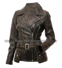 Womens Slim Fit Biker Vintage Cafe Racer Victoria Distressed Brown Leather Jacket