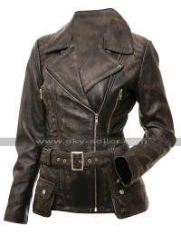 Womens Slim Fit Biker Vintage Cafe Racer Victoria Distressed Brown Leather Jacket