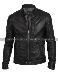Men's Slim Fit Biker Hunt Black Leather Jacket