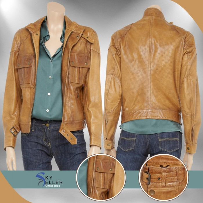 Belted Slim Fit Strap Neck Camel Biker Leather Jacket