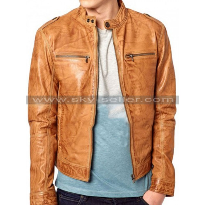 Men's Slimfit Chest Zip Pocket Distressed Brown Biker Jacket