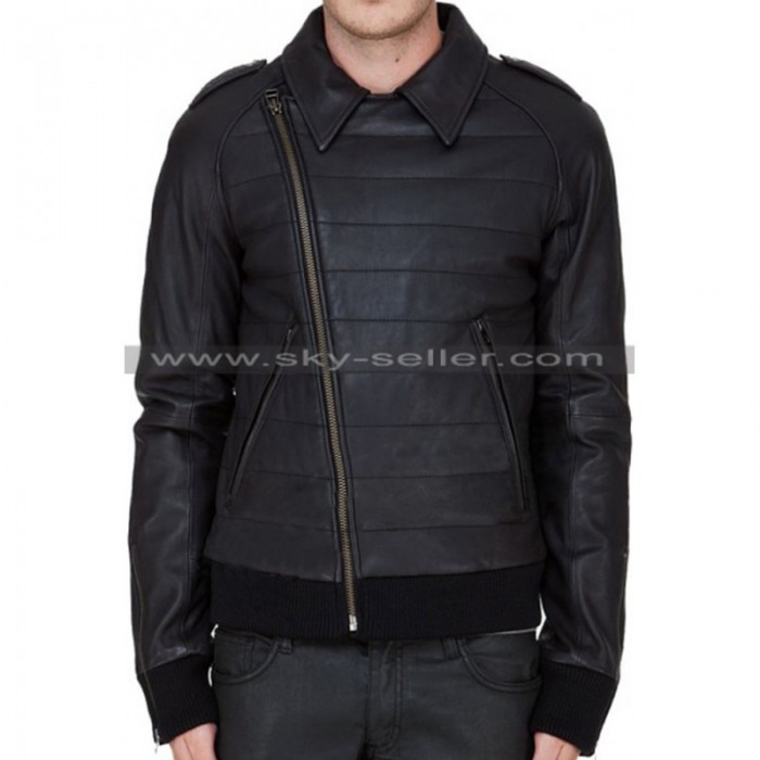Slim Fit Men's Slanted Zip Closure Black Biker Jacket