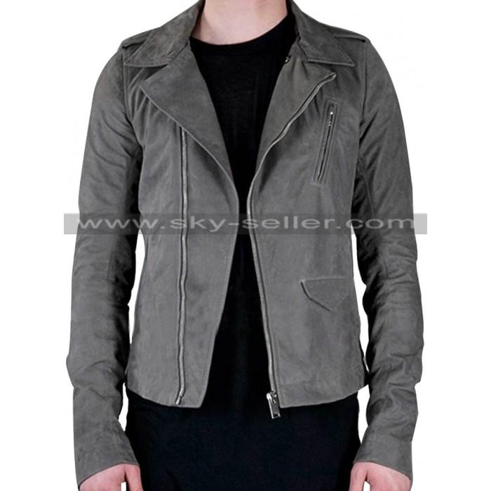 Slanted Pockets Asymmetrical Zipper Grey Leather Jacket