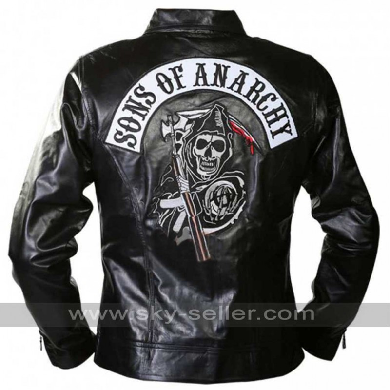 sons of anarchy patch black leather jacket. Black Bedroom Furniture Sets. Home Design Ideas