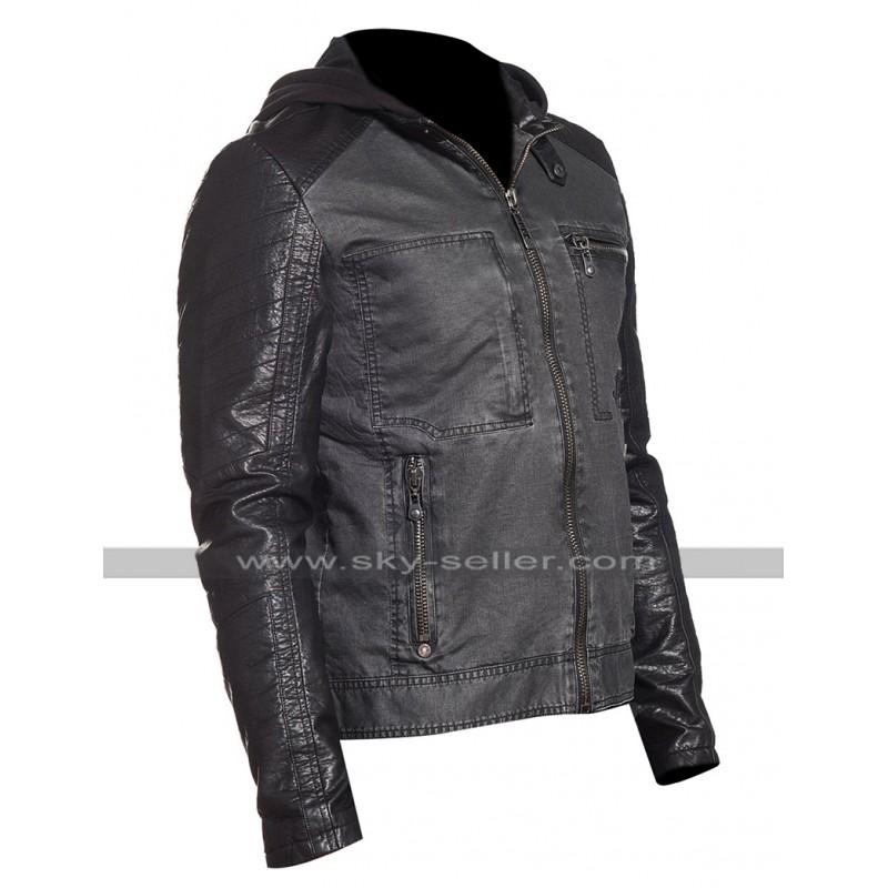 7b07ff79b93 Mens Slim Fit Black Hunter Rider Hooded Biker Speed Denim Jacket