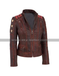 Womens Cafe Racer Biker Slim Fit Star Distressed Motorcycle Leather Jacket