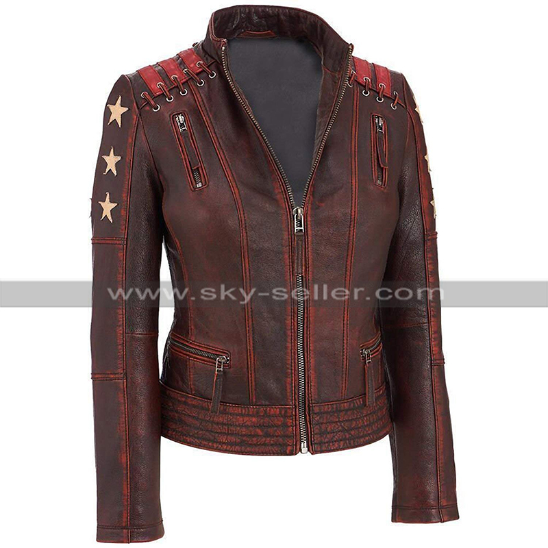 a5de64a4b99 Womens Cafe Racer Biker Slim Fit Star Distressed Motorcycle Leather Jacket