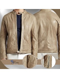 Strap Collar Men's Slimfit Biker Leather Jacket