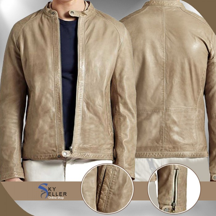 Strap Collar Men's Slimfit Biker Leather Jacket