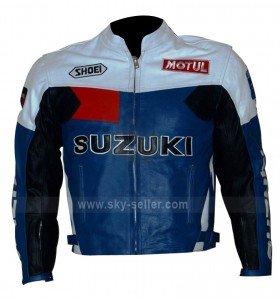 Suzuki Popular Motorcycle Blue, Black and White Leather Jacket