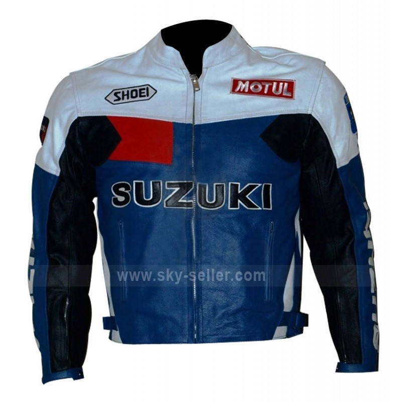 Popular Motorcycle Blue, Black and White Leather Jacket