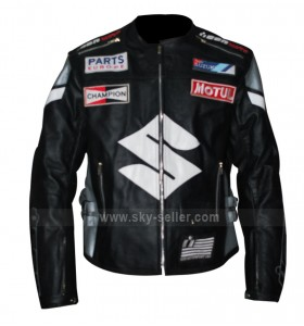 Icon Victory Suzuki Motorcycle Black Leather Jacket