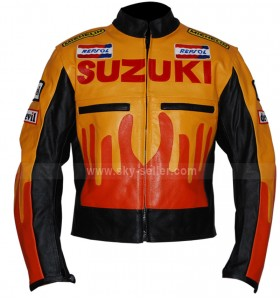 Yellow And Orange Suzuki Repsol Motorbike Leather Jacket
