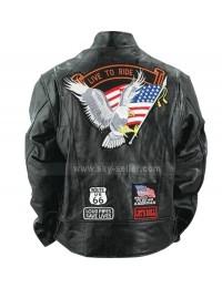 Diamond Plate Unisex Buffalo Leather Motorcycle Jacket