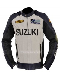 Unofficial Suzuki Blue and White Motorcycle Jacket