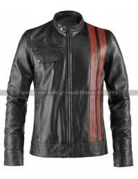 Victor Frankenstein Red Stripes Motorcycle Leather Jacket