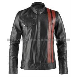 Victor Frankenstein Red Stripes Motorcycle Leather Jacket