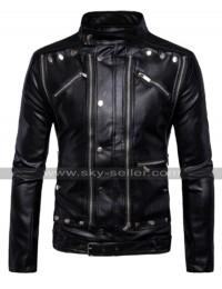 Mens Vintage Cafe Racer Multi Zipper Antique Belted Biker Leather Jacket