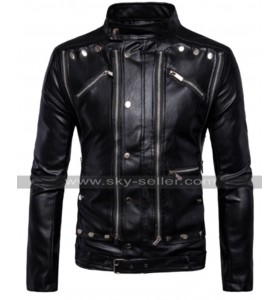 Mens Vintage Cafe Racer Multi Zipper Antique Belted Biker Leather Jacket