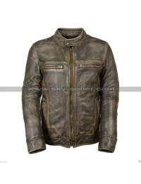 Cafe Racer Vintage Biker Triple Stitch Distressed Brown Wax Leather Jacket