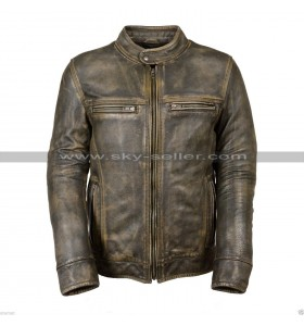 Cafe Racer Vintage Biker Triple Stitch Distressed Brown Wax Leather Jacket