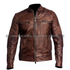 Men's Vintage Motorcycle Cafe Racer Brown Distressed Jacket