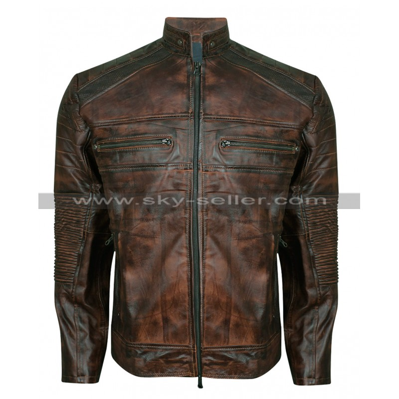 Vintage Motorcycle Cafe Racer Brown Distressed Jacket