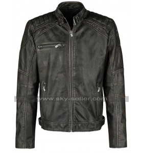 Cafe Racer Brando Biker Vintage Classic Black Leather Jacket