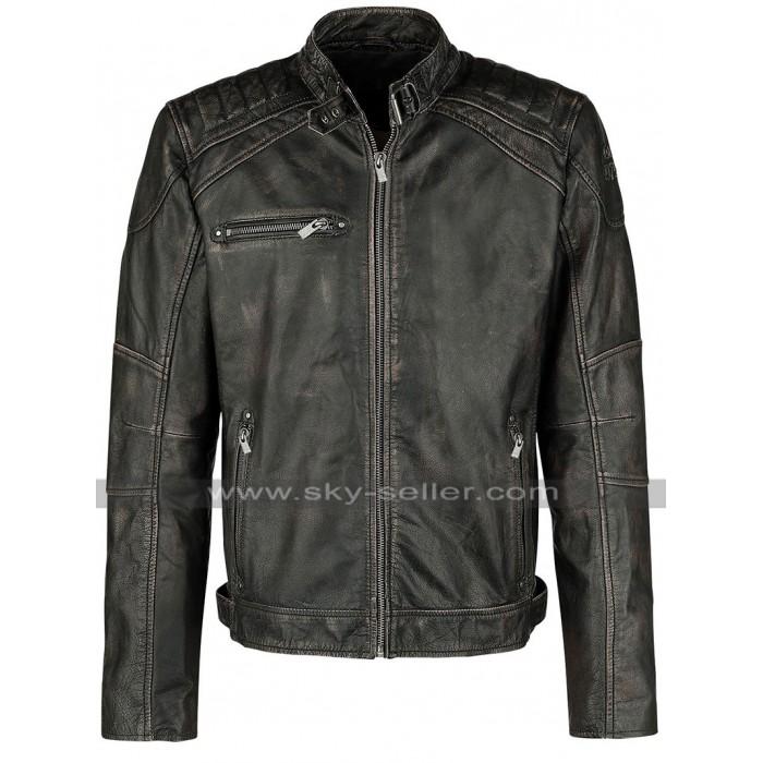 Cafe Racer Brando Biker Vintage Classic Black Leather Jacket