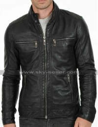 Men's Cafe Racer Biker Vintage Black Motorcycle Leather Jacket