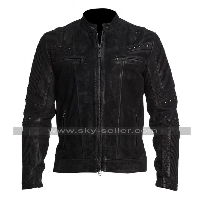 Mens Cafe Racer Vintage Biker Enigma Metal Black Rider Leather Jacket