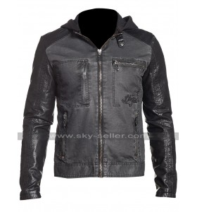 Mens Slim Fit Black Hunter Rider Hooded Biker Speed Denim Jacket