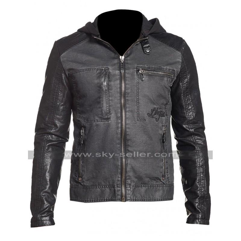 b215cb9af6b Mens Slim Fit Black Hunter Rider Hooded Biker Speed Denim Jacket