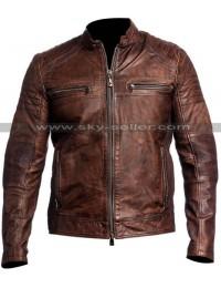 Vintage Cafe Racer Distressed Brown Slimfit Motorcycle Leather Jacket