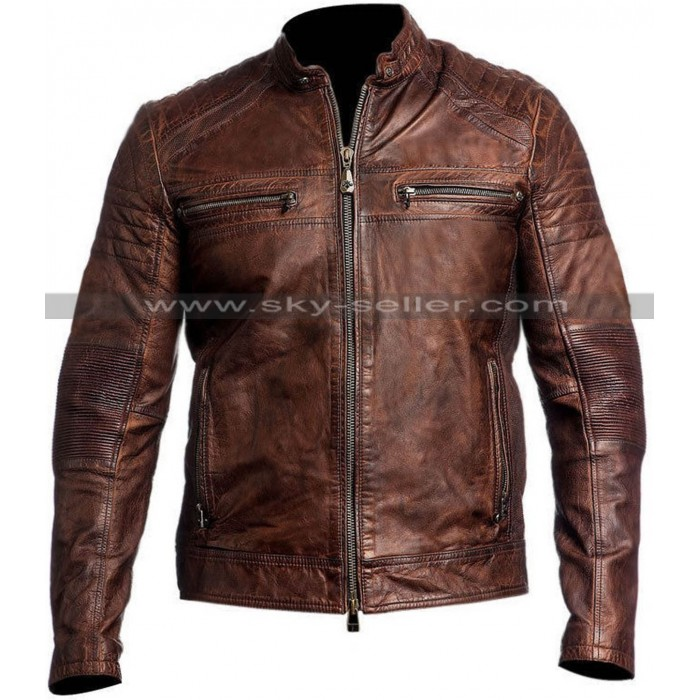 Vintage Cafe Racer Distressed Brown Slimfit Motorcycle Leather Jacket