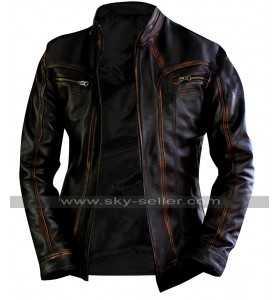 Vintage Biker Cafe Racer Distressed Brown Motorcycle Leather Jacket