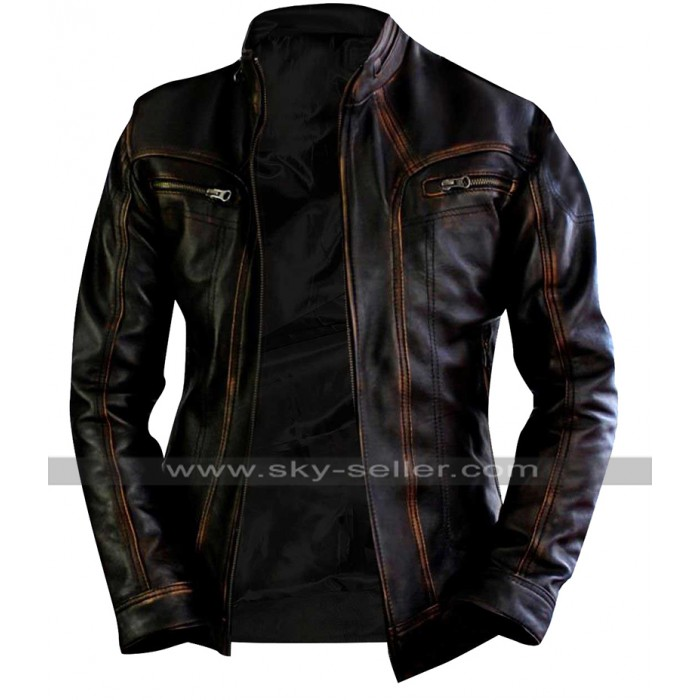 Vintage Biker Cafe Racer Distressed Brown Motorcycle Leather Jacket