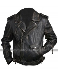 Cafe Racer Vintage Classic Brando Biker Black Leather Jacket
