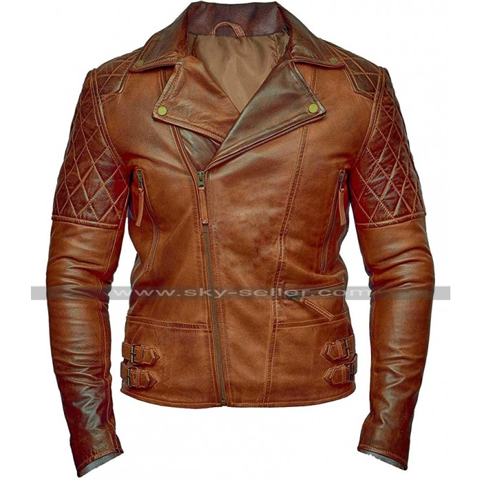 Mens Vintage Brando Diamond Biker Distressed Brown Motorcycle Leather Jacket