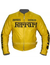 Vintage Ferrari Yellow Motorcycle Leather Jacket