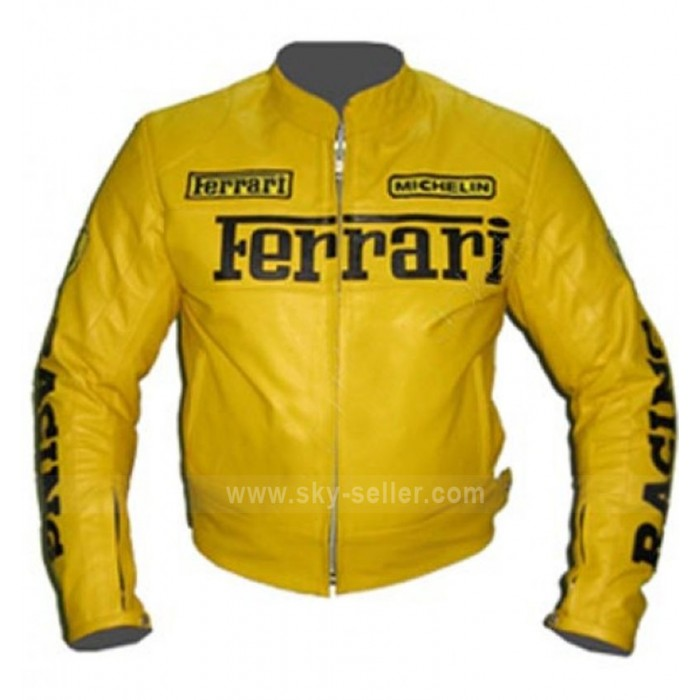 Vintage Ferrari Yellow Motorcycle Leather Jacket