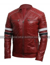 Mens Cafe Racer Retro Striped Quilted Shoulders Vintage Biker Red Leather Jacket