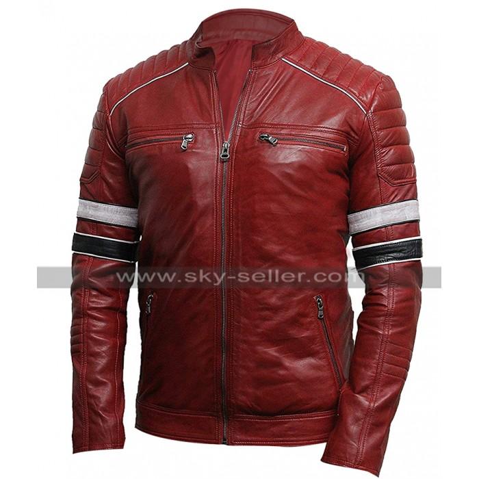 Mens Cafe Racer Retro Striped Quilted Shoulders Vintage Biker Red Leather Jacket