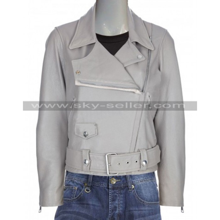 Slimfit Vintage Style Motorcycle Grey Leather Jacket