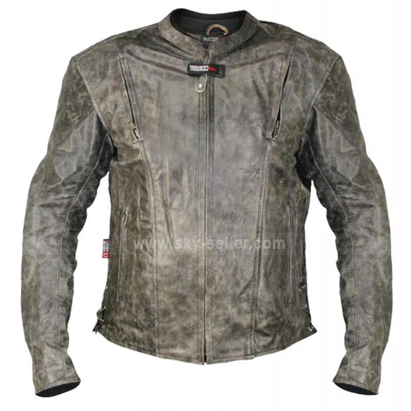 Biker leather jacket distressed