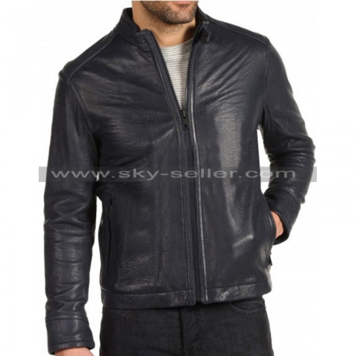 Waist Pockets Men Black Slim Fit Black Motorcycle Jacket